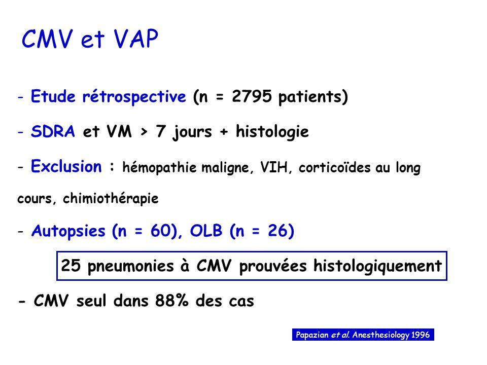 25 pneumonies à CMV prouvées histologiquement