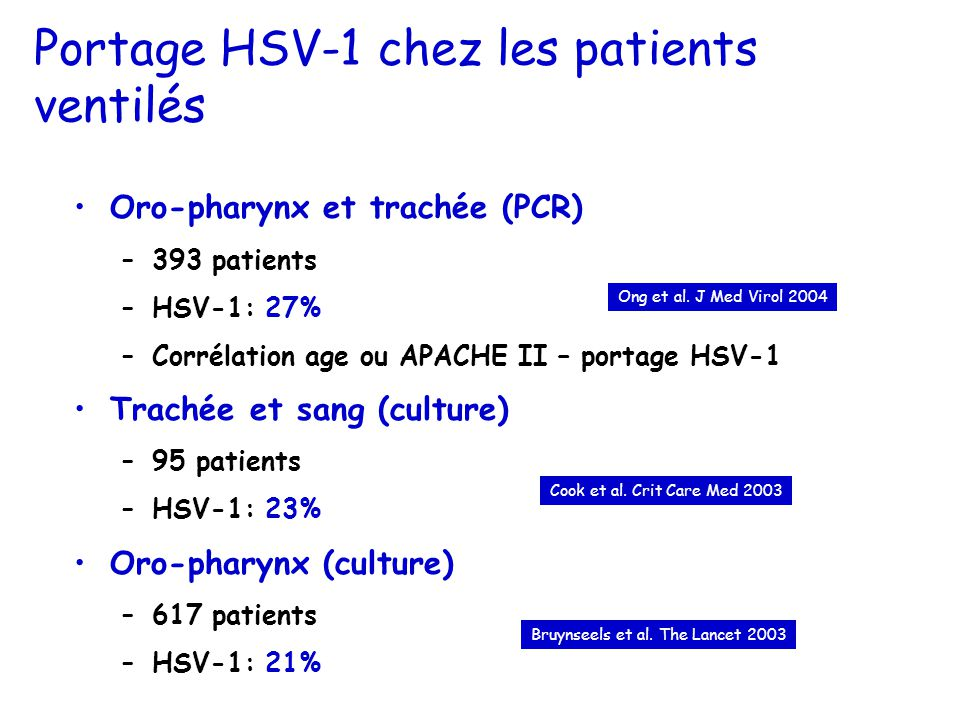 Portage HSV-1 chez les patients ventilés