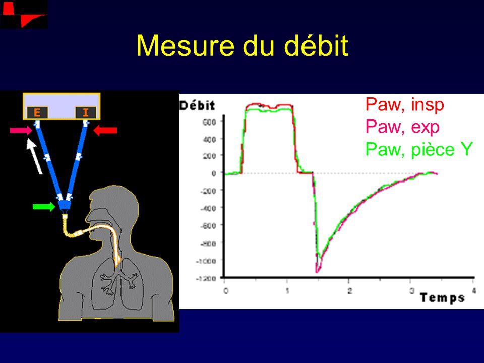 Mesure du débit Paw, insp Paw, exp Paw, pièce Y