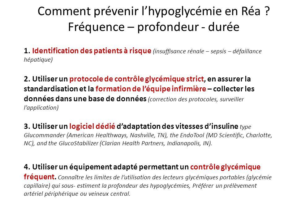 Comment prévenir l'hypoglycémie en Réa Fréquence – profondeur - durée