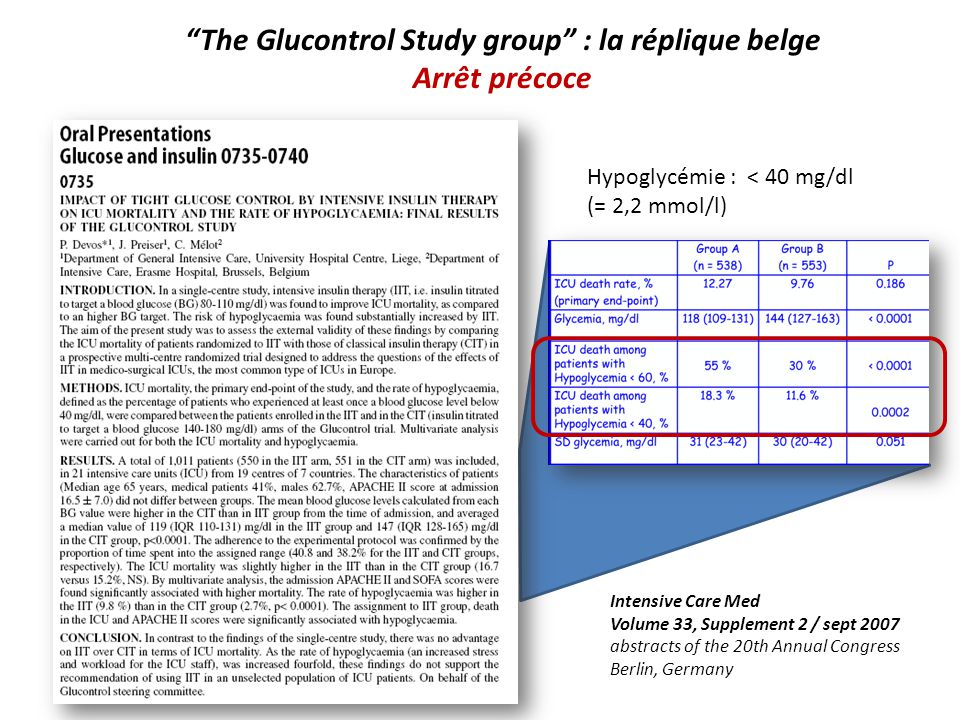 The Glucontrol Study group : la réplique belge