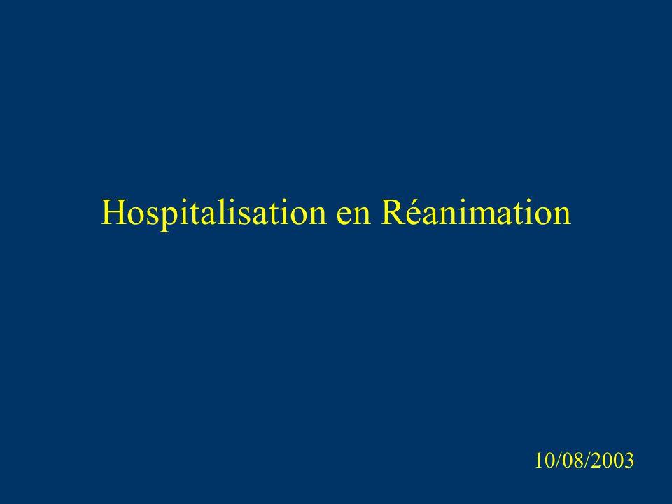 Hospitalisation en Réanimation