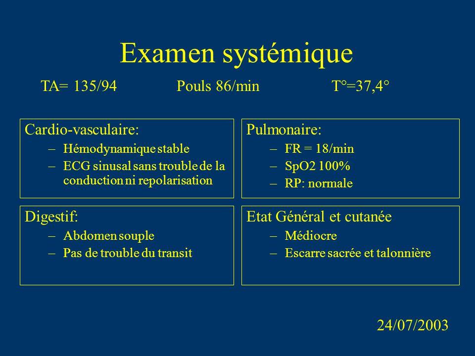 Examen systémique TA= 135/94 Pouls 86/min T°=37,4° Cardio-vasculaire: