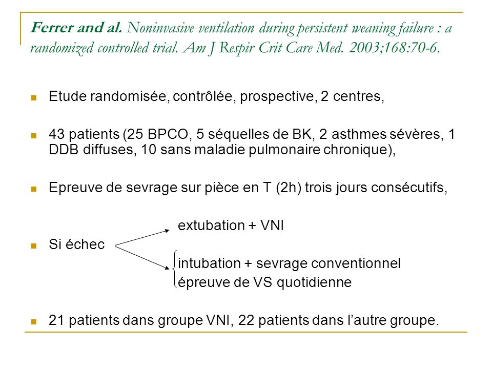 Ferrer and al. Noninvasive ventilation during persistent weaning failure : a randomized controlled trial. Am J Respir Crit Care Med. 2003;168:70-6.