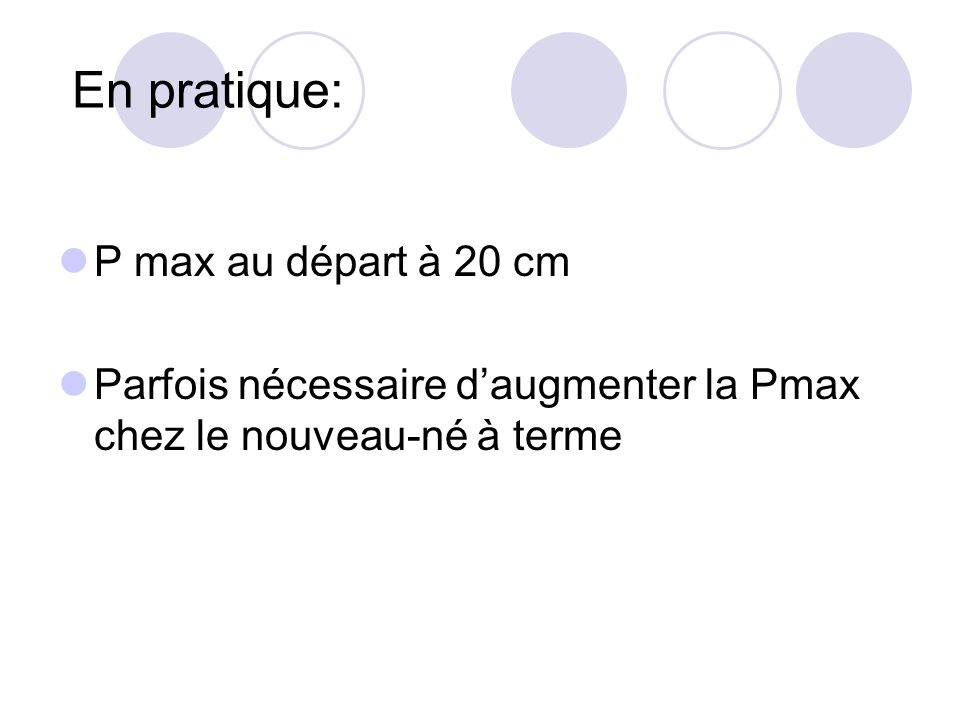 En pratique: P max au départ à 20 cm