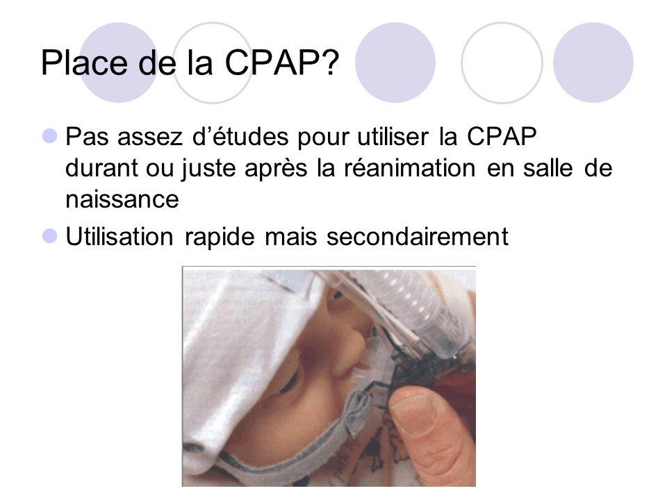 Place de la CPAP Pas assez d'études pour utiliser la CPAP durant ou juste après la réanimation en salle de naissance.