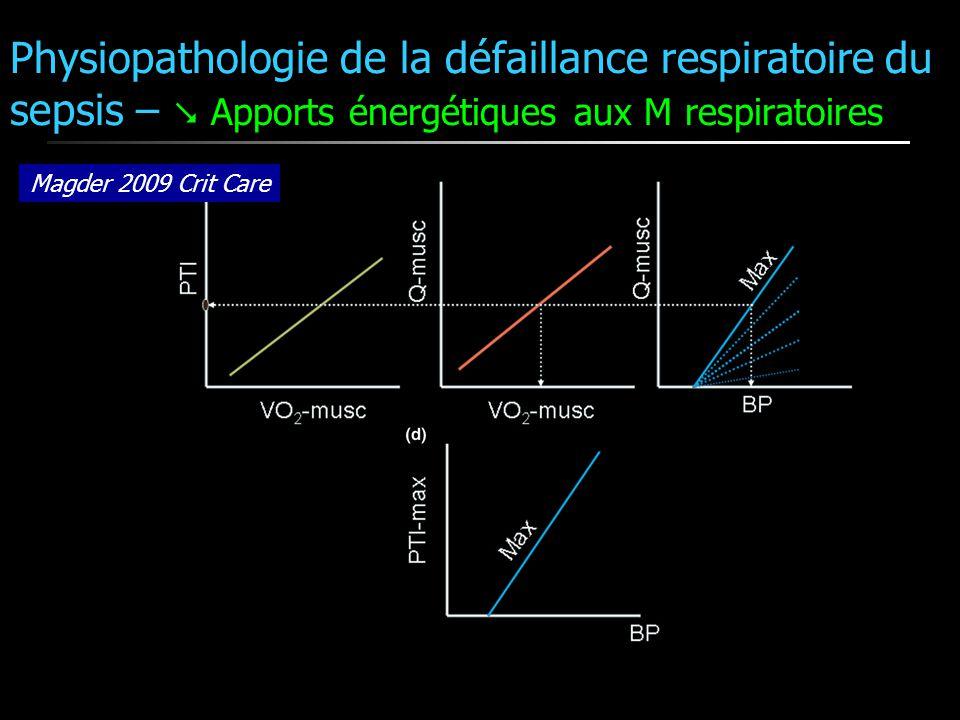 Physiopathologie de la défaillance respiratoire du sepsis –  Apports énergétiques aux M respiratoires