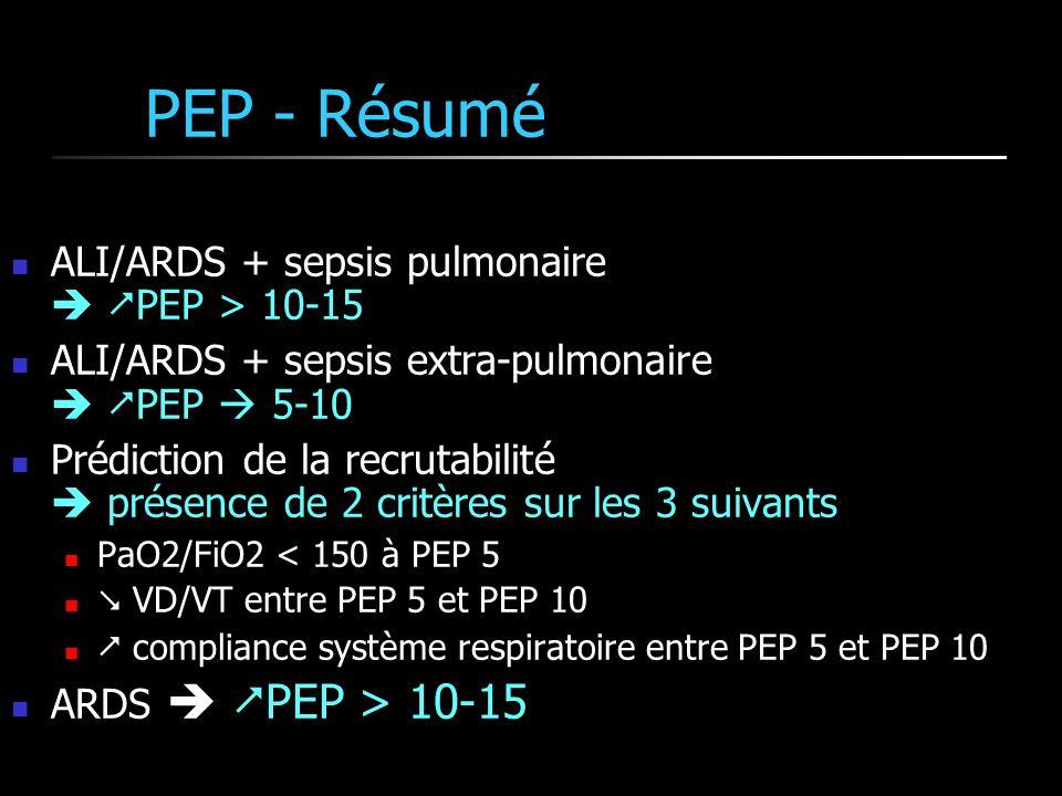 PEP - Résumé ALI/ARDS + sepsis pulmonaire  PEP > 10-15