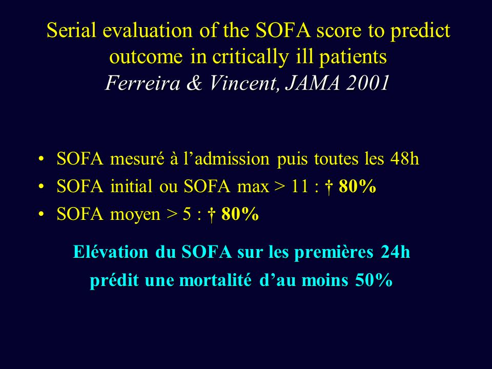 Serial evaluation of the SOFA score to predict outcome in critically ill patients Ferreira & Vincent, JAMA 2001