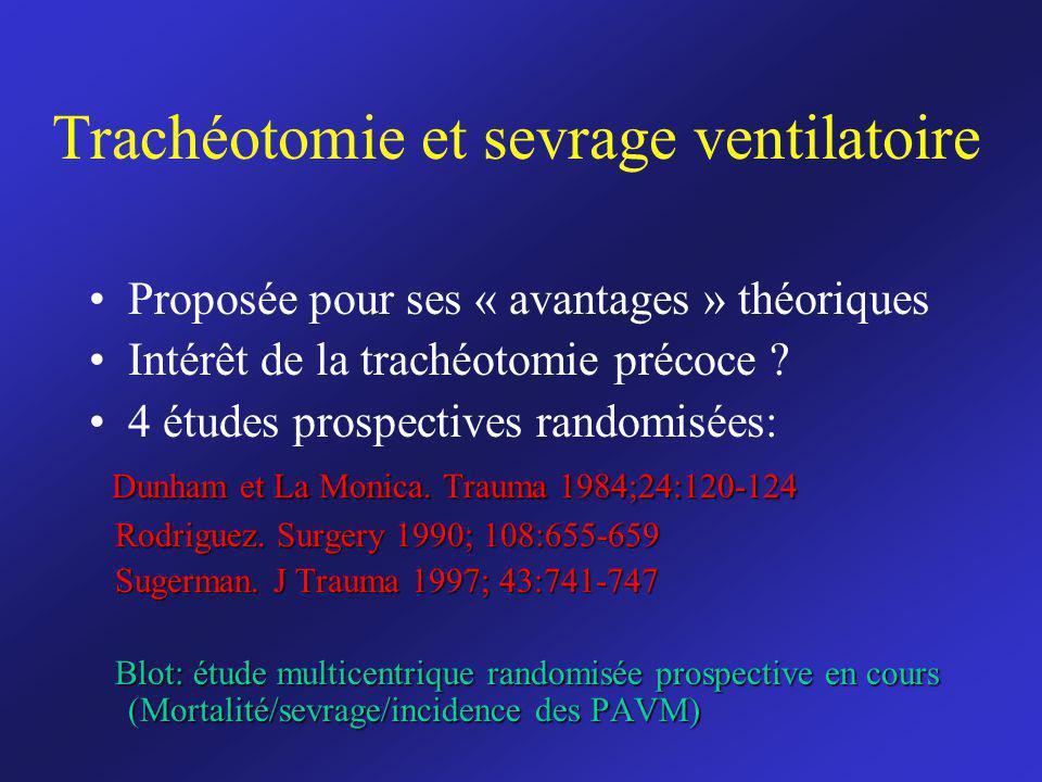 Trachéotomie et sevrage ventilatoire