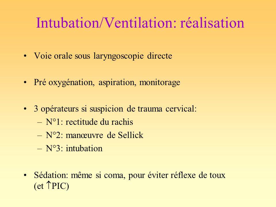 Intubation/Ventilation: réalisation