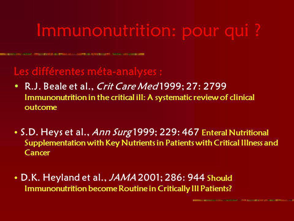Immunonutrition: pour qui
