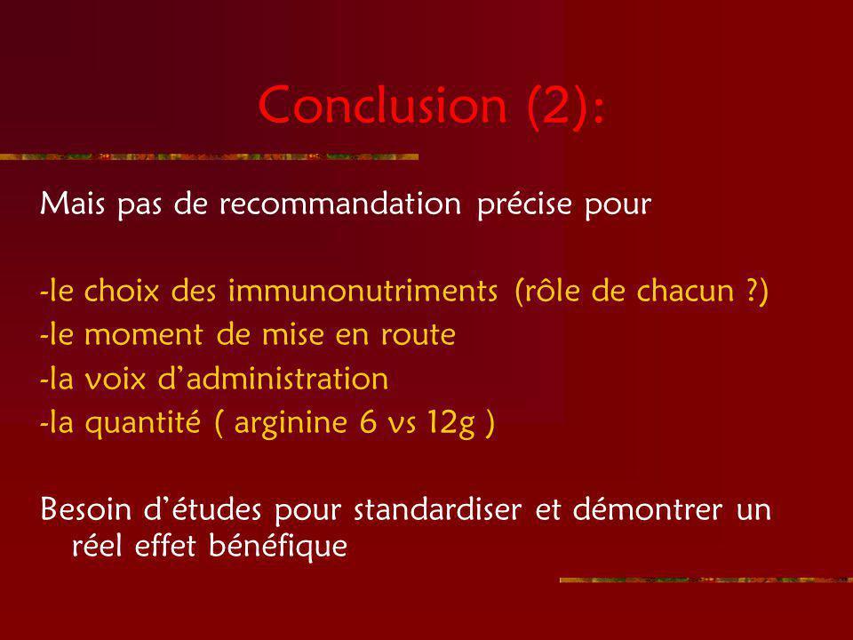 Conclusion (2): Mais pas de recommandation précise pour