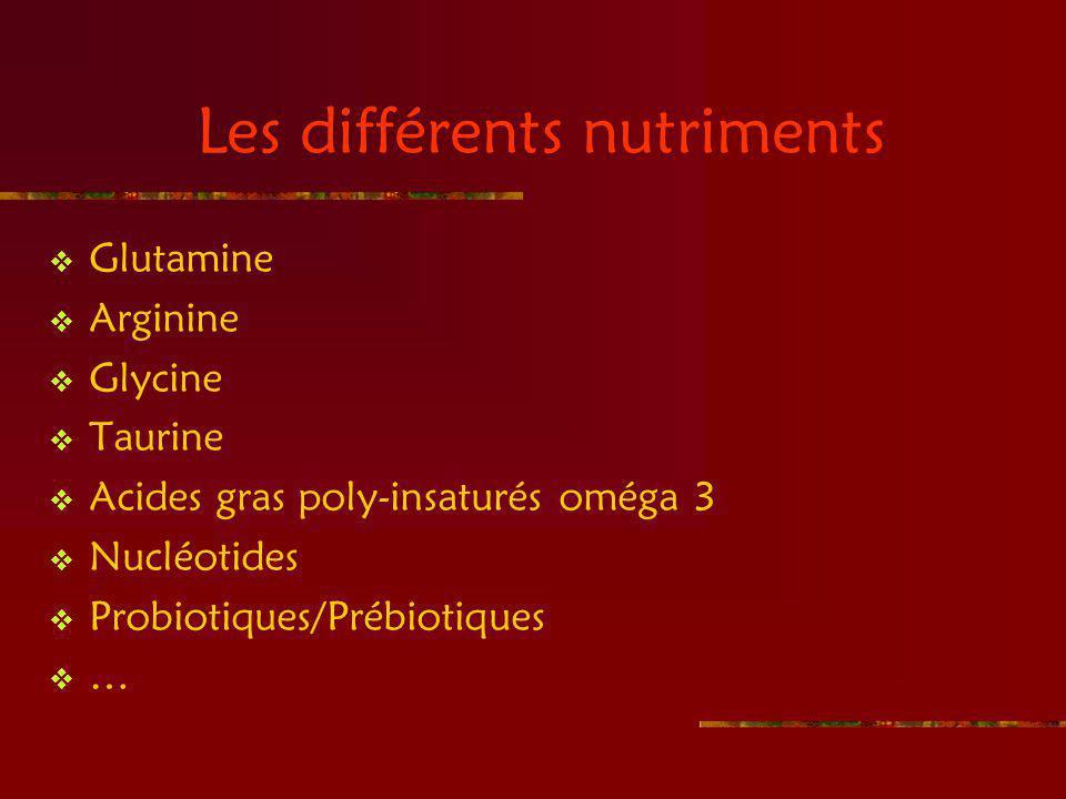 Les différents nutriments