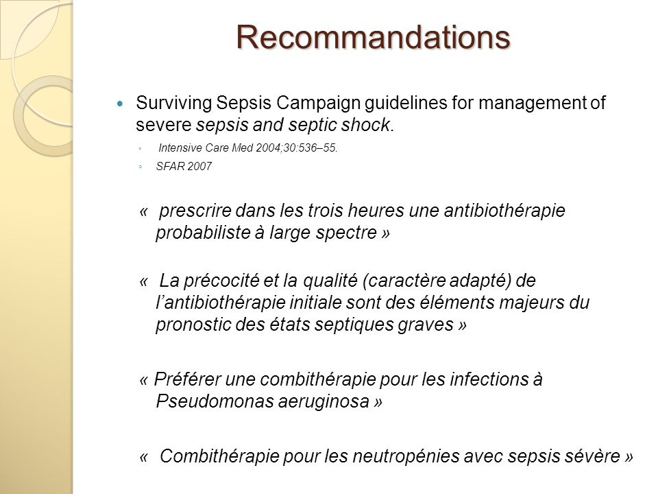 Recommandations Surviving Sepsis Campaign guidelines for management of severe sepsis and septic shock.