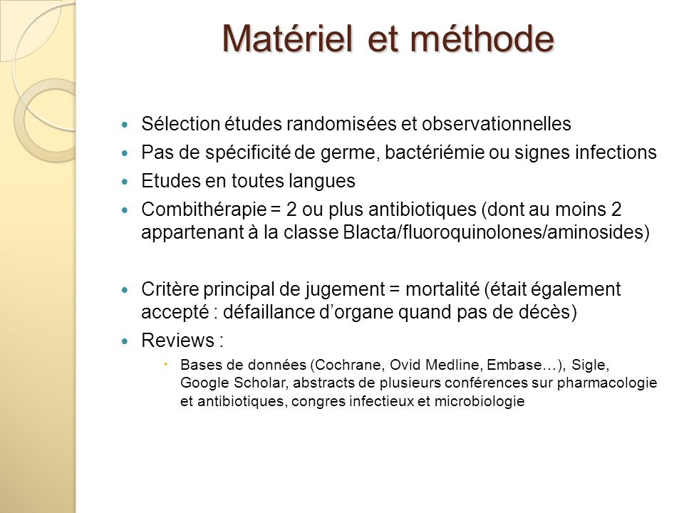 Matériel et méthode Sélection études randomisées et observationnelles