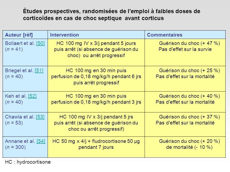 Études prospectives, randomisées de l emploi à faibles doses de corticoïdes en cas de choc septique avant corticus