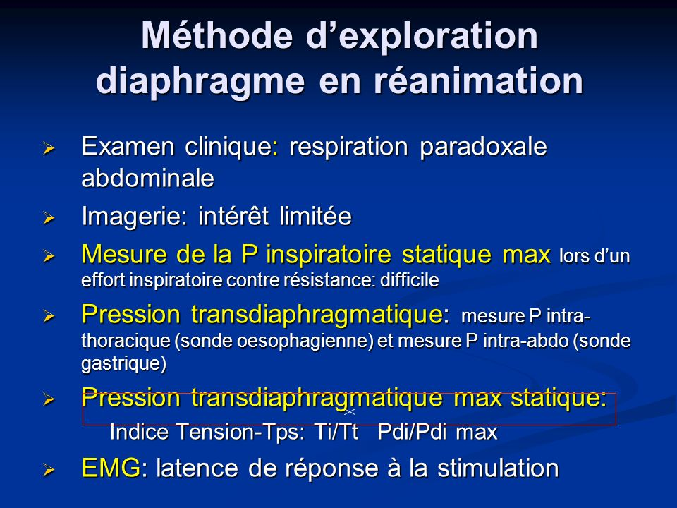 Méthode d'exploration diaphragme en réanimation