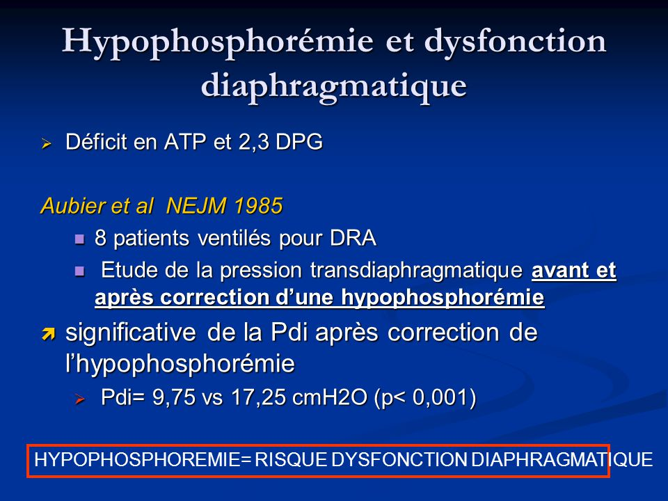 Hypophosphorémie et dysfonction diaphragmatique