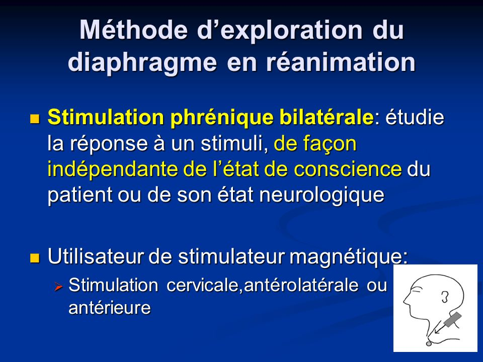 Méthode d'exploration du diaphragme en réanimation