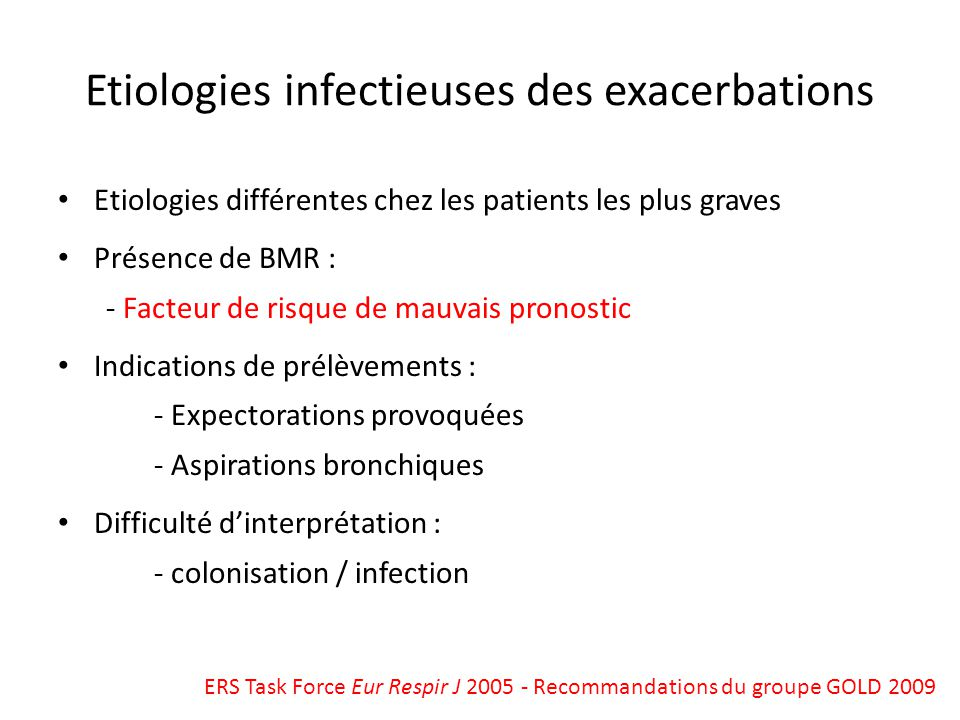 Etiologies infectieuses des exacerbations