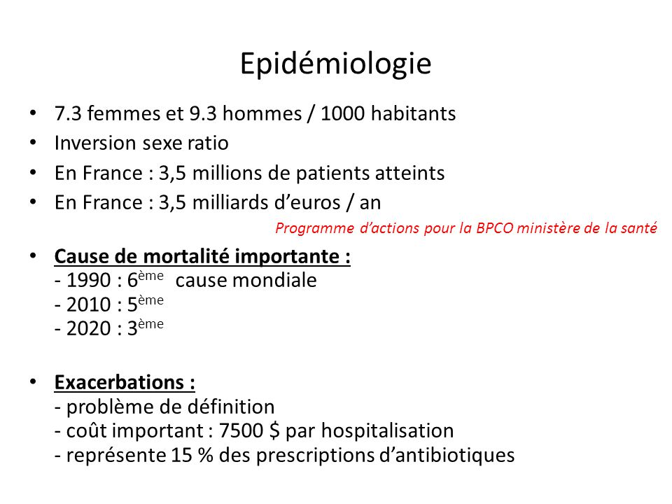 Epidémiologie 7.3 femmes et 9.3 hommes / 1000 habitants