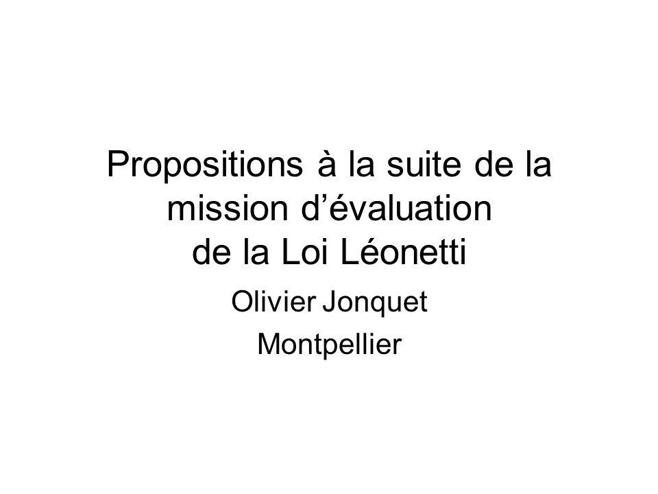 Propositions à la suite de la mission d'évaluation de la Loi Léonetti