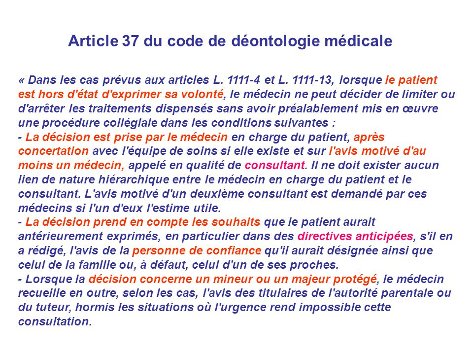Article 37 du code de déontologie médicale