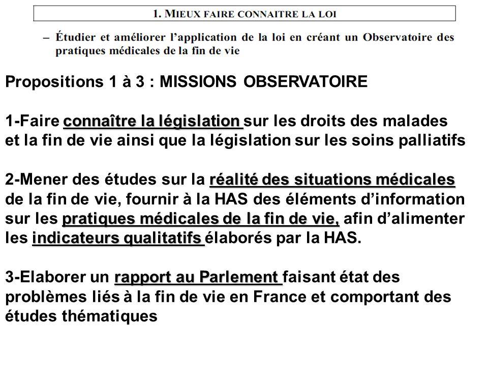 Propositions 1 à 3 : MISSIONS OBSERVATOIRE