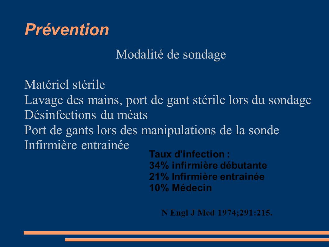 Prévention Modalité de sondage Matériel stérile