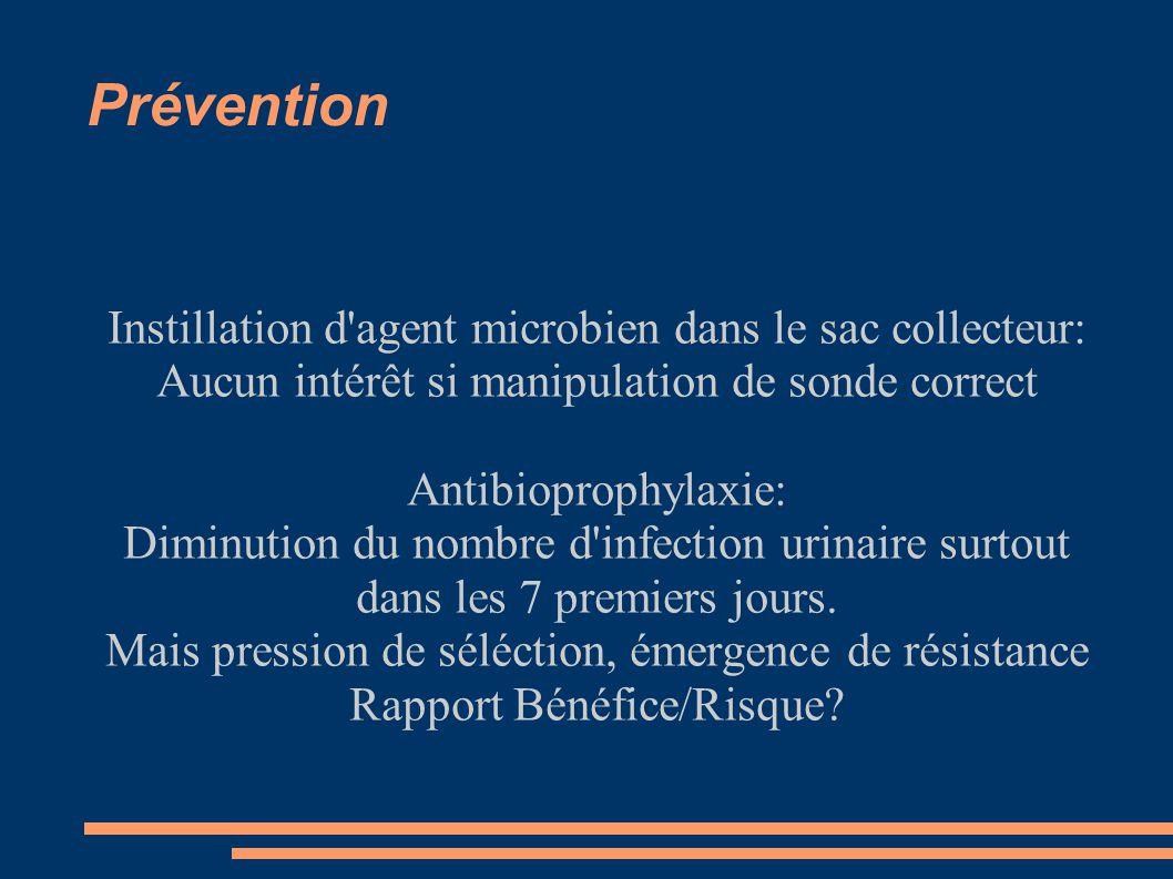 Prévention Instillation d agent microbien dans le sac collecteur: