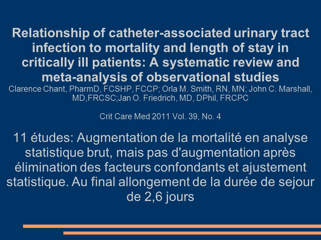 Relationship of catheter-associated urinary tract infection to mortality and length of stay in critically ill patients: A systematic review and meta-analysis of observational studies