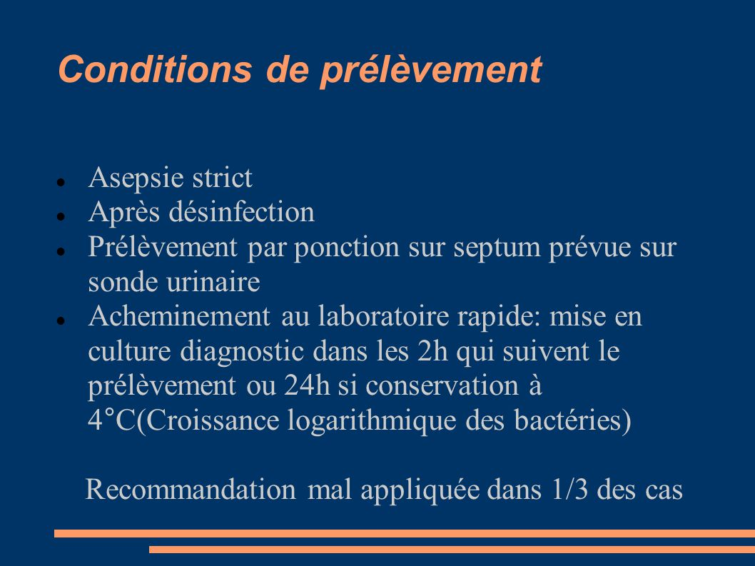 Conditions de prélèvement