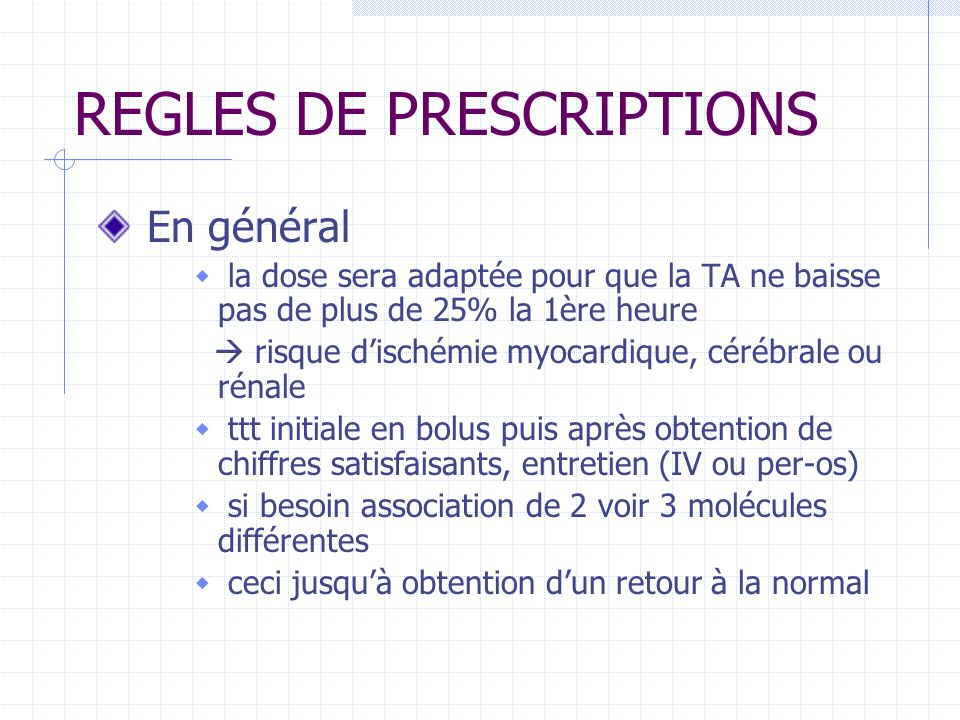 REGLES DE PRESCRIPTIONS