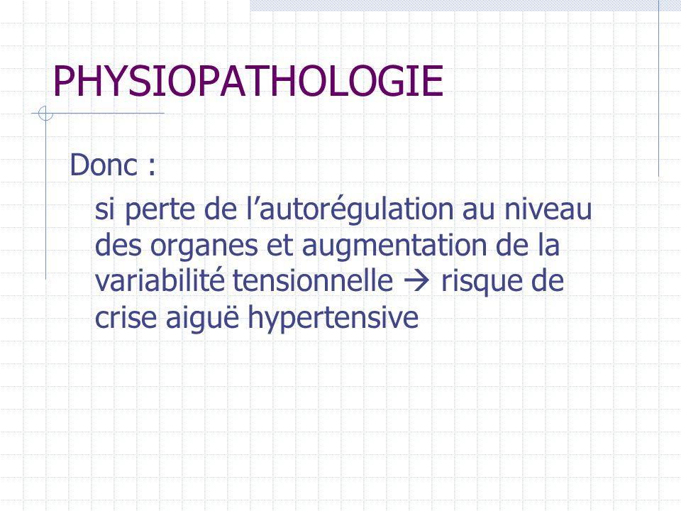 PHYSIOPATHOLOGIE Donc :