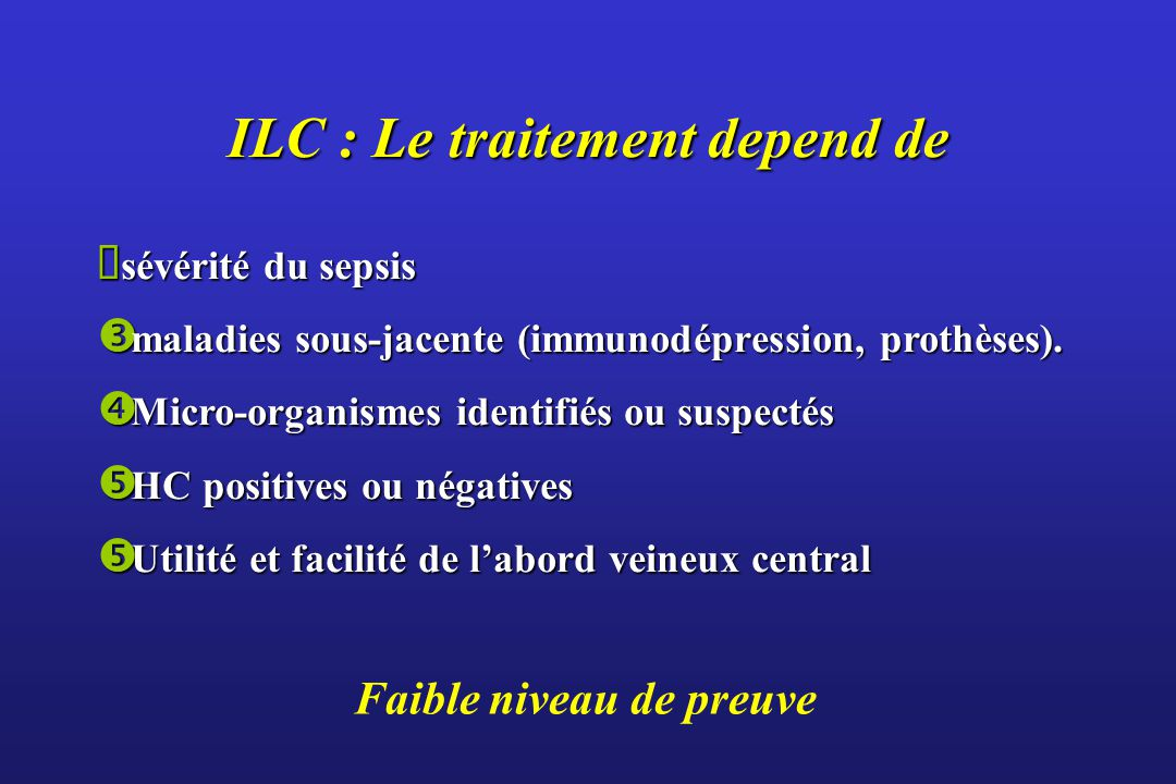 ILC : Le traitement depend de