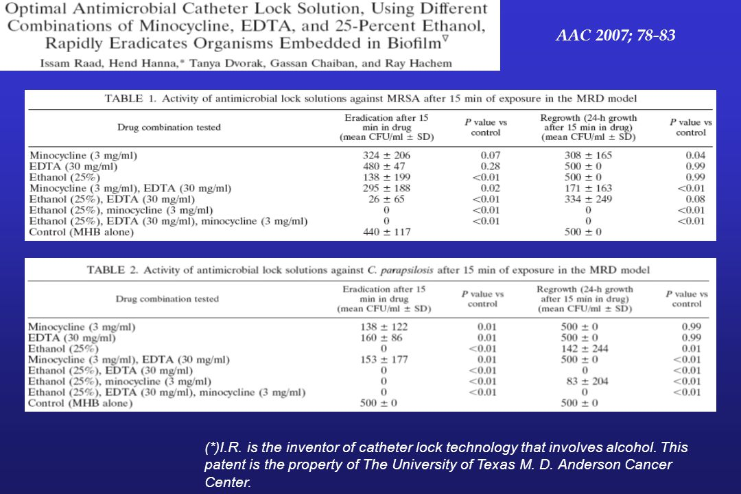 AAC 2007; 78-83 Antimicrobial lock solutions may be needed to salvage indwelling catheters in patients requiring continuous.