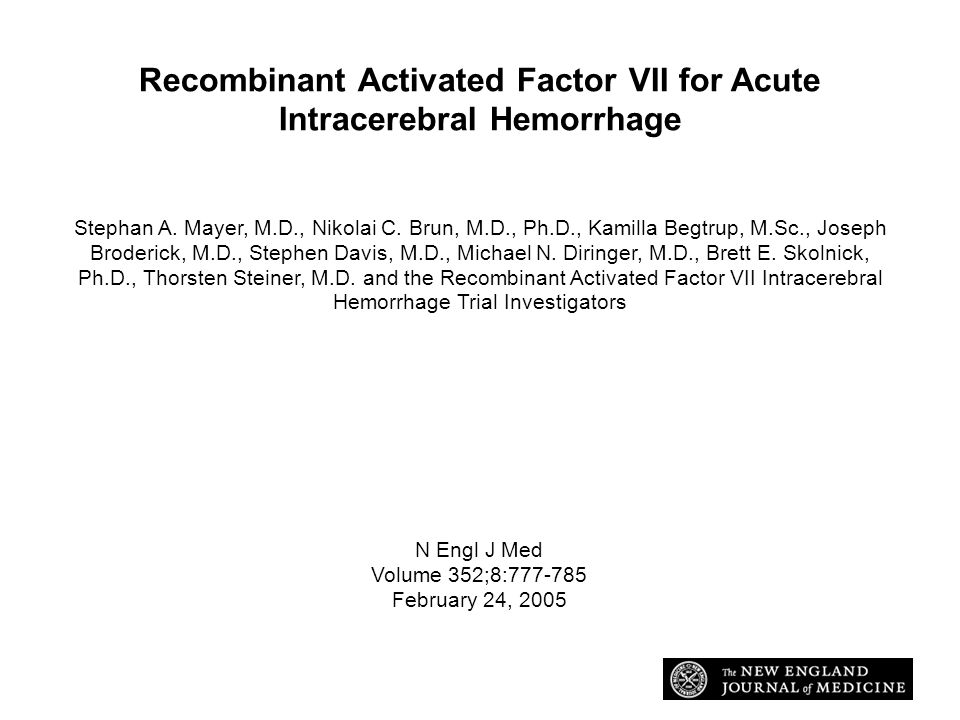 Recombinant Activated Factor VII for Acute Intracerebral Hemorrhage