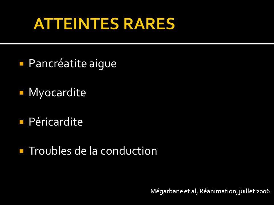 ATTEINTES RARES Pancréatite aigue Myocardite Péricardite