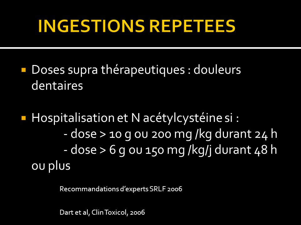 INGESTIONS REPETEES Doses supra thérapeutiques : douleurs dentaires