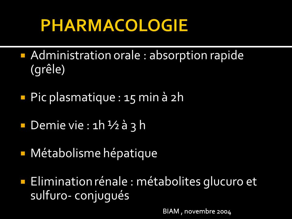 PHARMACOLOGIE Administration orale : absorption rapide (grêle)