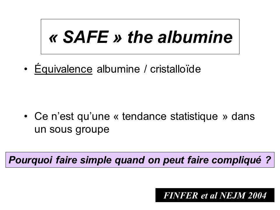 « SAFE » the albumine Équivalence albumine / cristalloïde