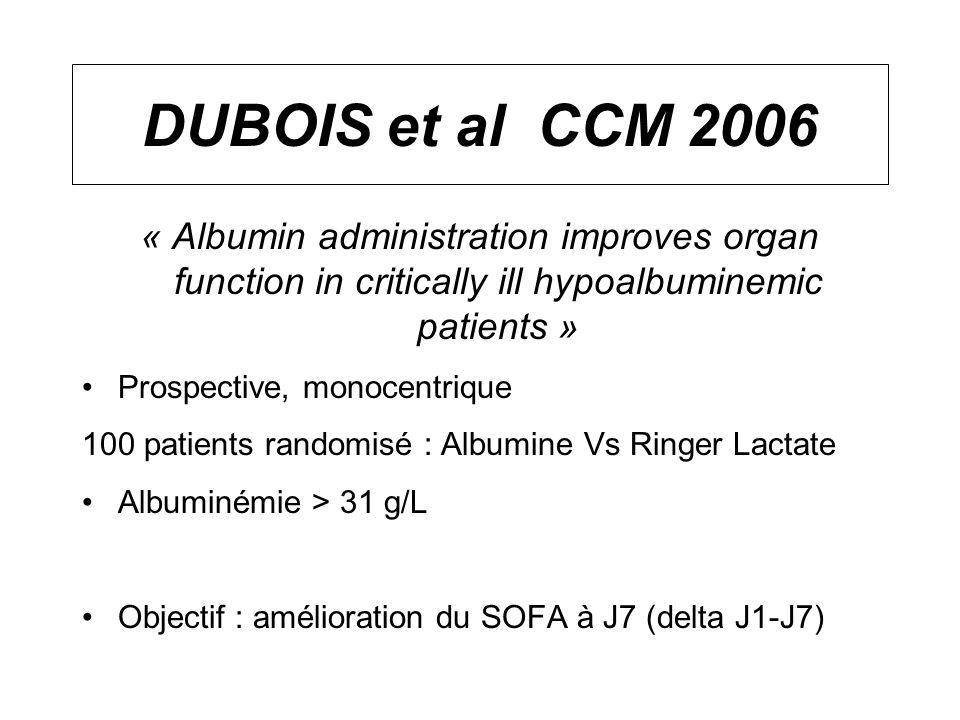 DUBOIS et al CCM 2006 « Albumin administration improves organ function in critically ill hypoalbuminemic patients »