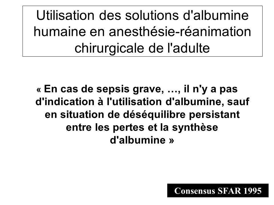 Utilisation des solutions d albumine humaine en anesthésie-réanimation chirurgicale de l adulte