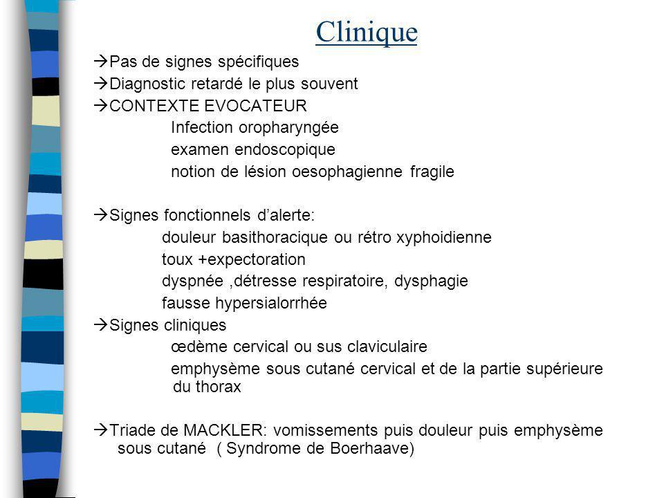 Clinique Pas de signes spécifiques