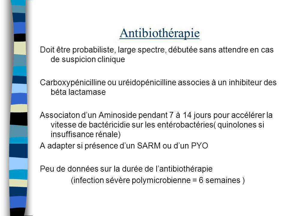 Antibiothérapie Doit être probabiliste, large spectre, débutée sans attendre en cas de suspicion clinique.