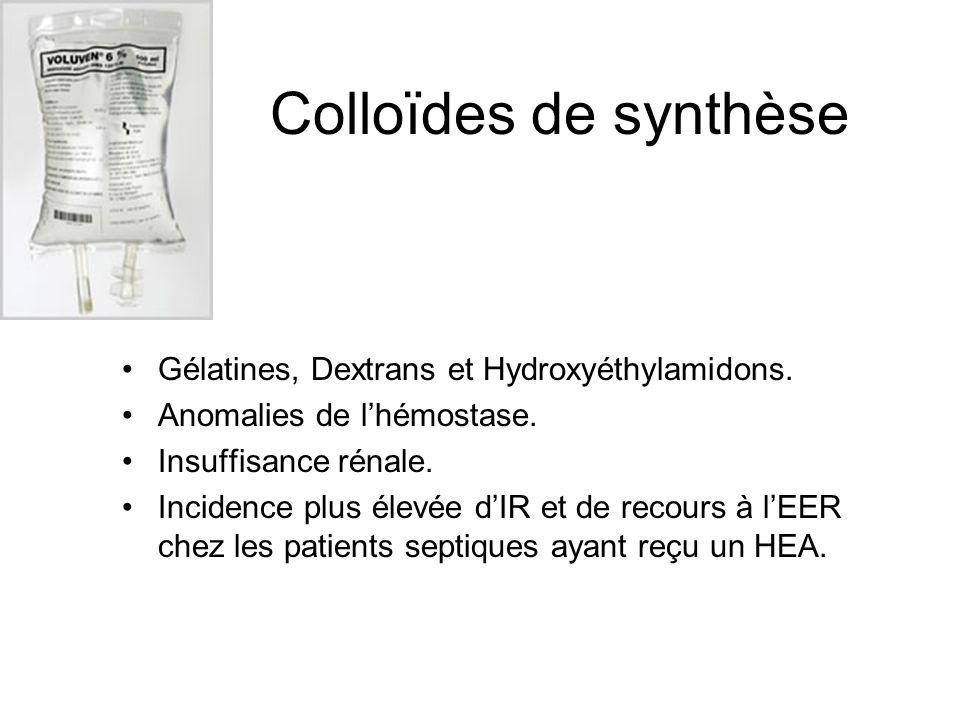 Colloïdes de synthèse Gélatines, Dextrans et Hydroxyéthylamidons.