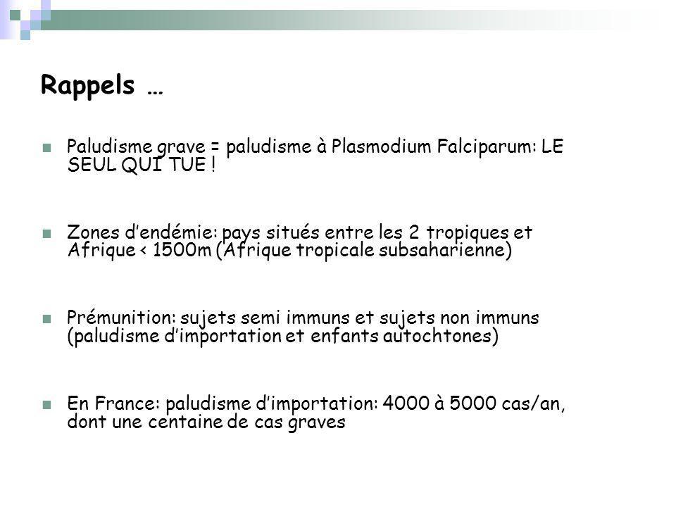 Rappels … Paludisme grave = paludisme à Plasmodium Falciparum: LE SEUL QUI TUE !