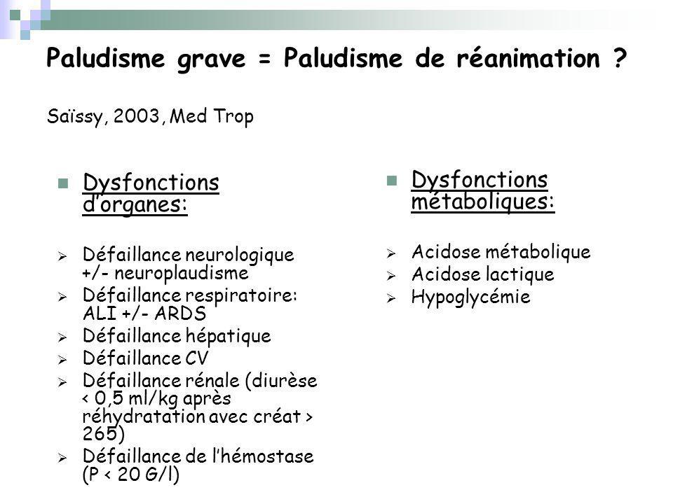 Paludisme grave = Paludisme de réanimation Saïssy, 2003, Med Trop
