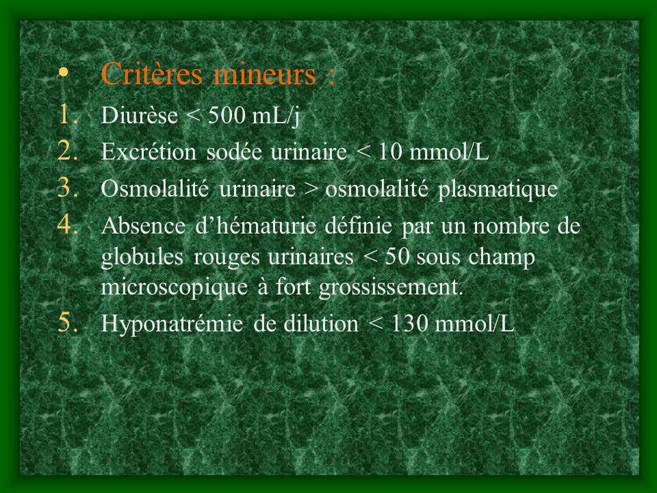 Critères mineurs : Diurèse < 500 mL/j